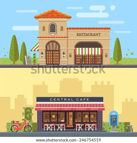 Landscape with buildings restaurant and cafe. Cityscape. Vector flat illustration - stock vector