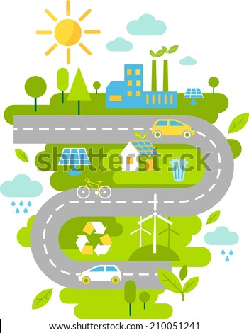 Landscape with buildings, transport and nature ecology elements in flat style - stock vector