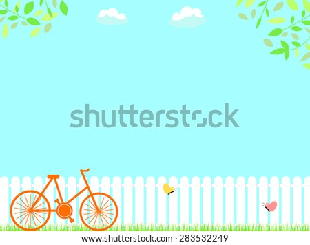 landscape with butterfly and fence - stock vector