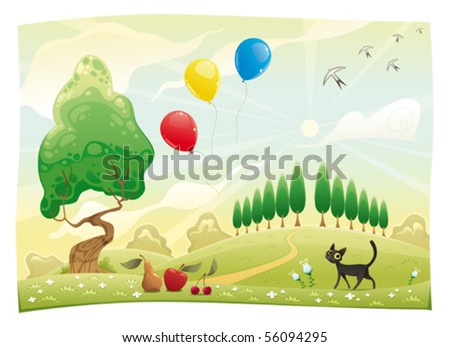 Landscape with cat. Funny cartoon and vector scene - stock vector