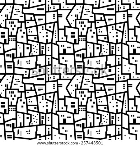 Landscape with city blocks. Black and white abstract seamless pattern. - stock vector