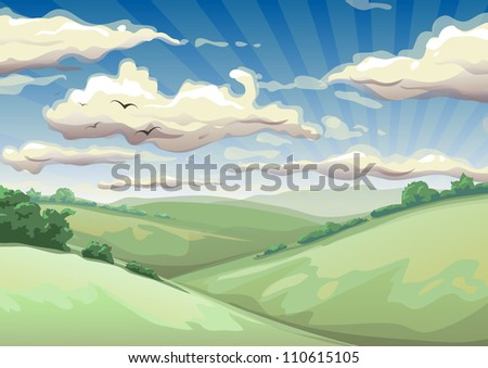 landscape with clouds vector illustration - stock vector