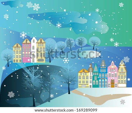 landscape with colorful homes and trees and little hills, snowy blue vector illustration filled with snow flakes