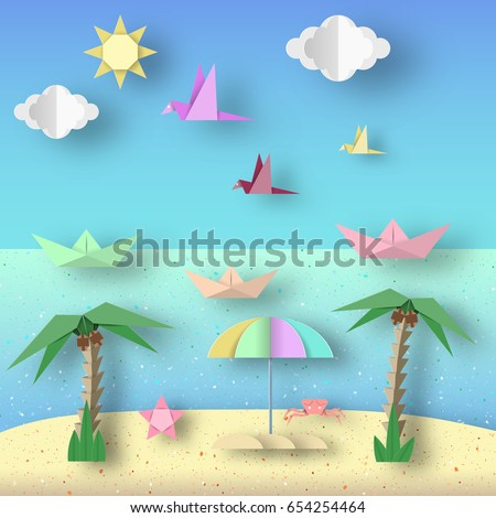 Landscape Cut Birds Ships Palm Tree Stock Vector 654254464
