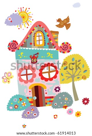 Landscape with cute house and nature elements. - stock vector