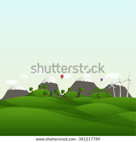 Landscape with fields and hills. Think Green ecology Concept.  - stock vector