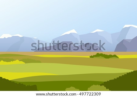 Landscape with fields and mountains, flat illustration