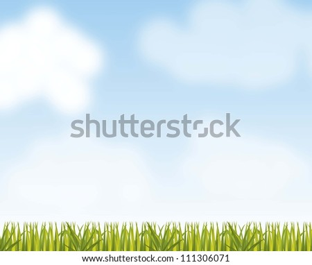 landscape with grass and sky background. vector illustration - stock vector