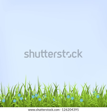 Landscape with grass. Vector Illustration. - stock vector