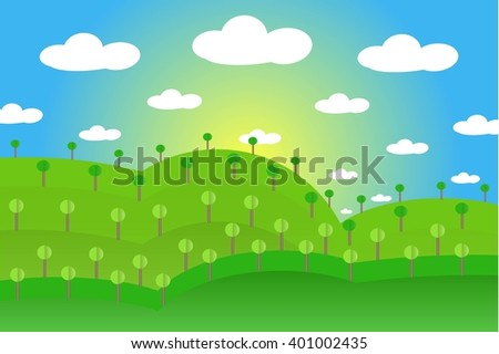 Landscape with green hills, gardens, forests, blue sky, white clouds, yellow sun, flat design, vector