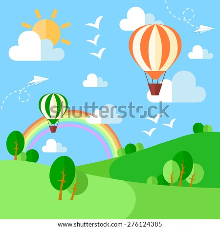 Landscape with hot air balloons, illustration in flat style. Vector eps10