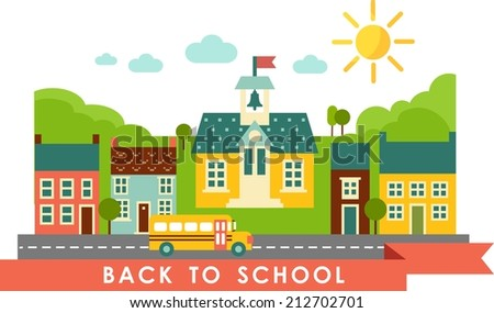 Landscape with houses, school bus, school building and cityscape in flat style  - stock vector