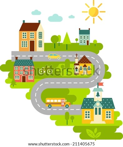 Landscape with houses, school bus, school building, church and cityscape in flat style  - stock vector