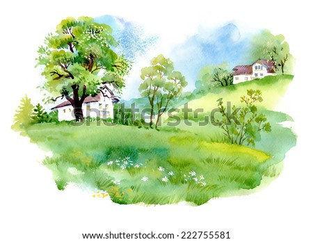 Landscape with houses, watercolor vector illustration - stock vector