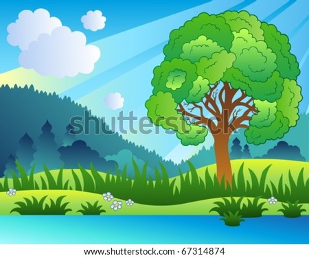 Landscape with leafy tree and lake - vector illustration. - stock vector