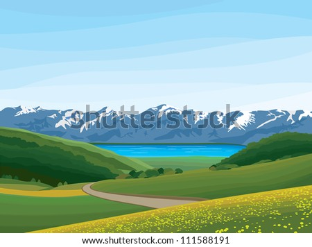 landscape with meadow, blue lake and mountains  No gradient