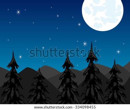 Landscape with mountain and wood moon in the night