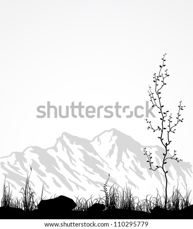 Landscape with mountain range, grass and tree. Vector illustration. - stock vector