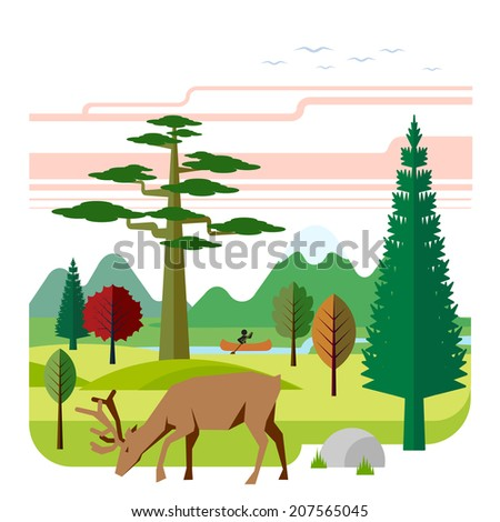 Landscape with mountains, wood, deer and river. Landscape with mountains, wood, deer and river. - stock vector