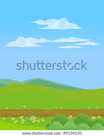 Landscape with mud road - stock vector