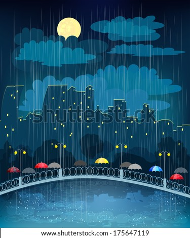 Landscape with night city in rainy weather - stock vector