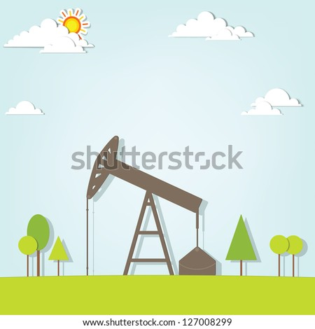 landscape with oil pump - stock vector
