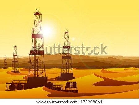 Landscape with oil rigs in barren desert with sand dunes. Detailed vector illustration. - stock vector