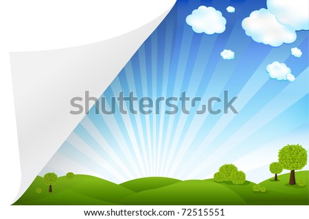 Landscape With Paper, Vector Illustration - stock vector