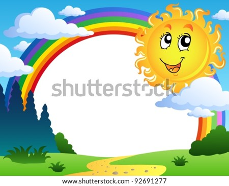 Landscape with rainbow and Sun 2 - vector illustration. - stock vector