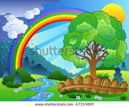 Landscape with rainbow and tree - vector illustration. - stock vector
