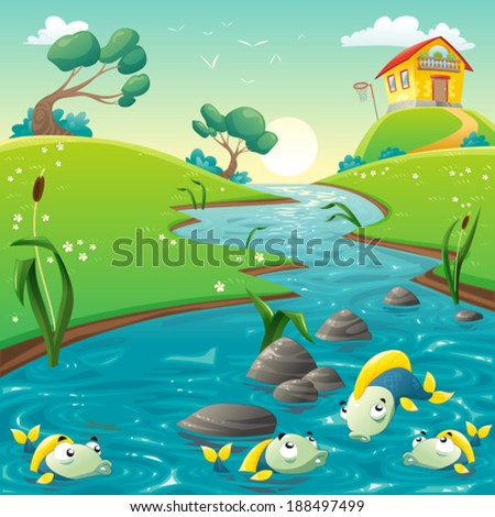 Landscape with river and funny fish. Vector illustration - stock vector