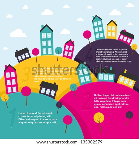 Landscape with small town. Vector illustration.