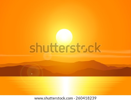Landscape with sunset at the seashore  over mountain range. Vector illustration. - stock vector