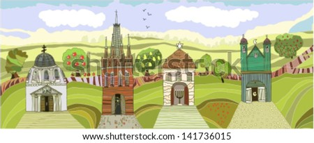 Landscape with temples - stock vector