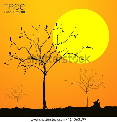 Landscape with tree at sun set hand draw from imagination,Vector illustration