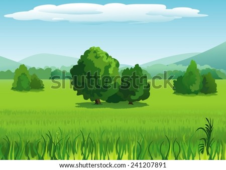 Landscape with trees and mountains - stock vector
