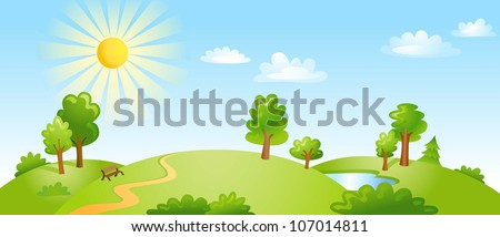 Landscape with trees clouds and bright sun. Vector illustration - stock vector