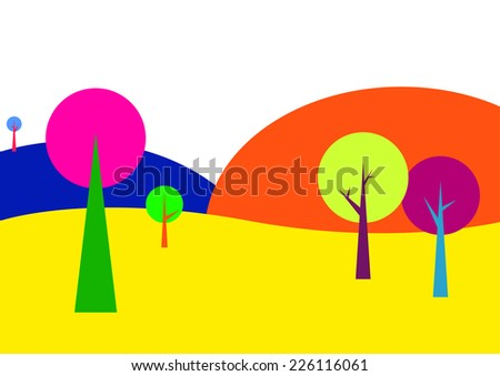 Landscape with trees in bright colors (lsd art, psychedelic art, modern art) - stock vector