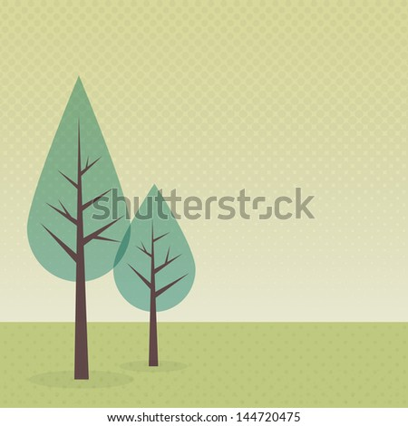 Landscape with two trees - stock vector