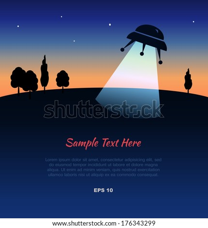 Landscape with UFO silhouette at sunset - stock vector