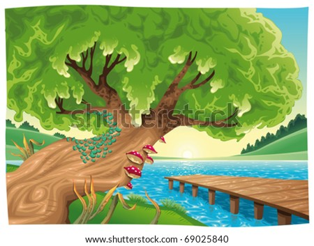 Landscape with water. Vector illustration, isolated objects - stock vector