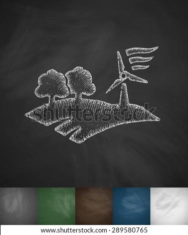 landscape with wind generator icon. Hand drawn vector illustration. Chalkboard Design - stock vector