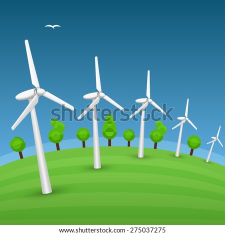 Landscape with windmills are going far. Conceptual vector illustration of green eco energy of future. There is a space for any text in the sky or on the green grass field. - stock vector