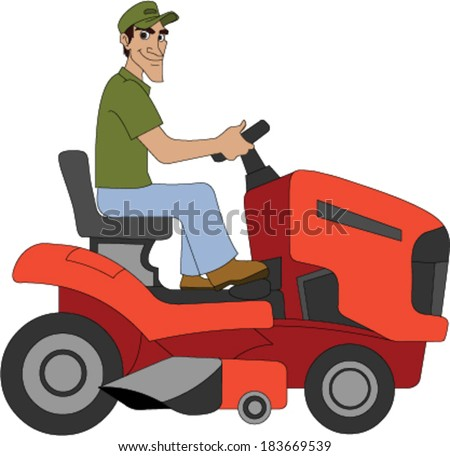Landscaper Driving a Lawn Tractor - stock vector