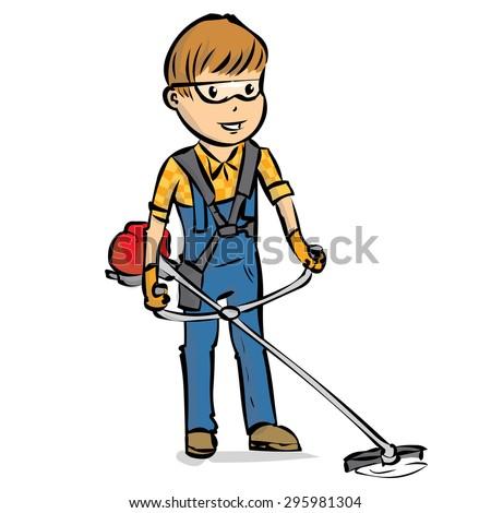 landscaper man gardener cutting grass string stock vector 295981304 rh shutterstock com Grass Cutting Services lawn cutting clip art