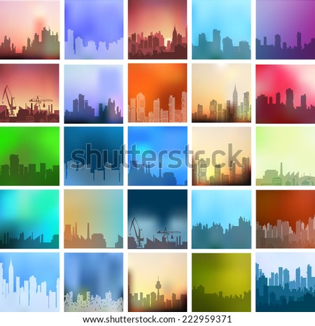 Landscapes of the city set a large number of urban types of different colors and styles - stock vector