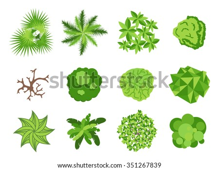 Landscaping garden design elements. Landscaping plants, landscaping trees vector icons isolated. Landscaping plan vector elements icons. Landscape garden design constructor. Landscaping design - stock vector