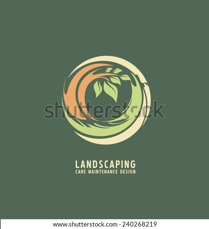 Landscaping logo design concept. Abstract illustration with tree in the circle. Park theme symbol. Icon template for gardening business. - stock vector