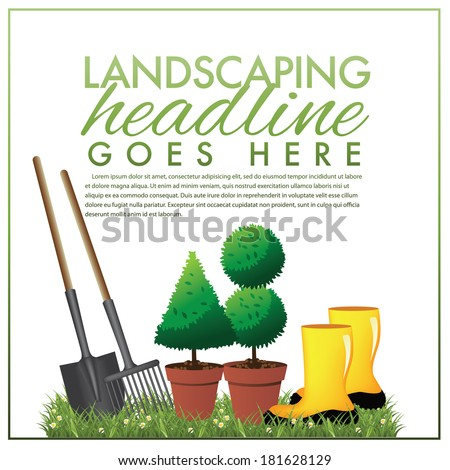Landscaping marketing template EPS 10 vector, grouped for easy editing. No open shapes or paths. - stock vector