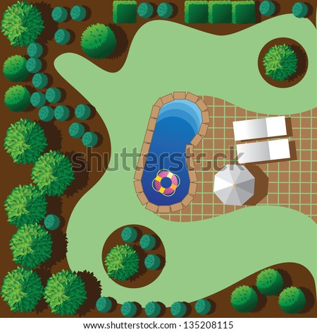 Landscaping with patio and pool. EPS 8 vector, grouped for easy editing. No open shapes or paths. - stock vector